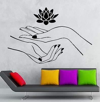 Tianpengyuanshuai Lotus Etiqueta de la Pared Zen Yoga Vinilo calcomania SPA relajacion de la Mano decoracion del hogar salon 57x48cm