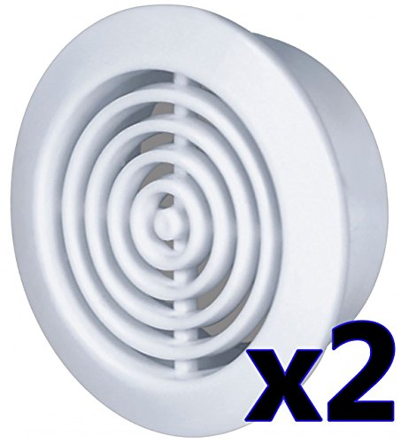 2x Lüftungsgitter Ø 45 mm rund weiß Abluftgitter Zuluft Abluft Gitter Lüftung T73w