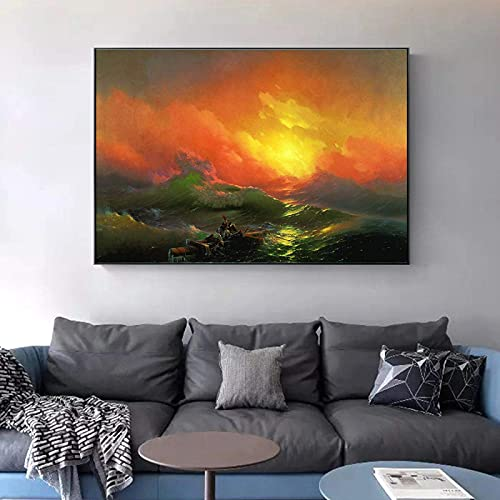 FTFTO Living Equipment Pintura Famosa Rusa en la Pared The Ninth Wave Wall Art Canvas de Ivan Aivazovsky Imagen de Paisaje Marino clásico 60x80cm InnerFrame