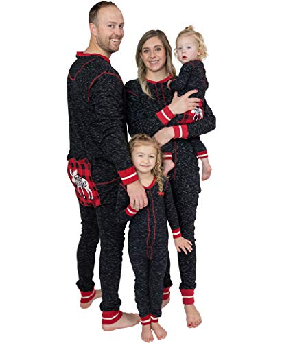 Lazy One Flapjacks, Matching Pajamas for The Dog, Baby, Kids, Teens, and Adults (Plaid Moose Caboose, 18 MO)