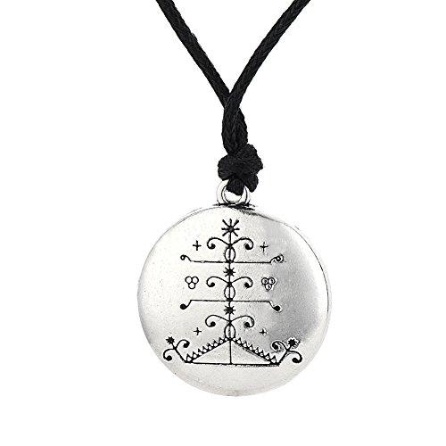 Skyrim Wicca, collana con ciondolo religioso Ogou Feray Voodoo Loa Veve Talismano per la vittoria amuleto gioielli da uomo
