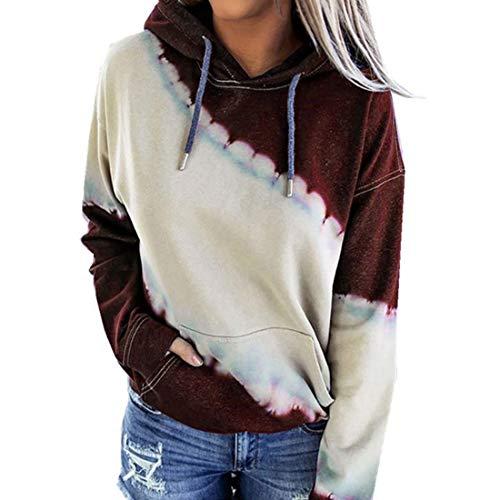 ZGRNPA Womens Lightweight Tops Tie Dye Color Block Drawstring Hoodies with Kangaroo Pockets Long Sleeve Sweatshirt Tie Dye Print Pullover Oversized Casual Hoodie Blouse Drawstring Hooded Tops