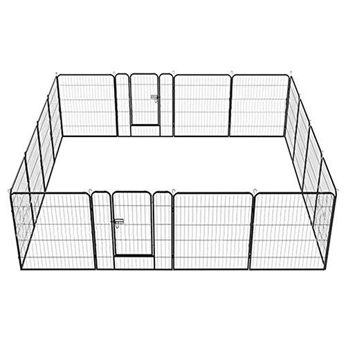 Yaheetech 16 Piezas Vallas para Perros Parque Jaula para Corrales para Perros Mascota Interior Metálica Negro 80 X 80 cm