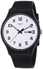 Originals new gent 2013 Watch Size: 41 mm round case with push/pull crown Water Resistance: Up to 100 feet Free battery exchange at Swatch retail locations 2 Year International Warranty Using sustainable rescources, water based paints, recyled packag...