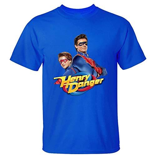 Camiseta de Moda para Hombre Algod¨®n Gen¨¦Rico Henry Danger Poster Camiseta Azul XL