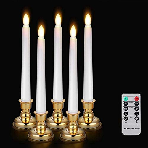 Hongjingda 3PCS LED Flameless Taper Candle Lights, Battery Operated Tapered Candles with Remote Control & Gold Base, Candle Warm White Lights for Party, Church, Christmas Decorations
