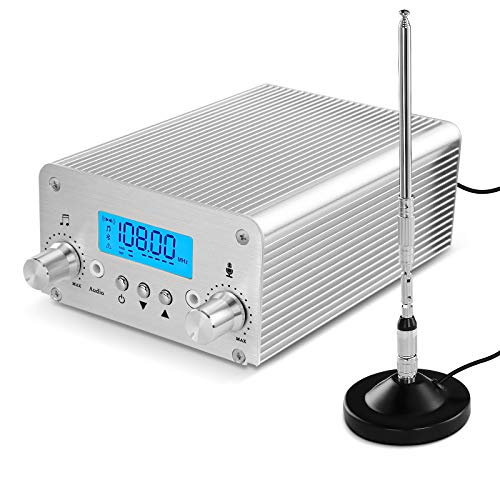 FM Transmitter for Church, APROTII 15W FM Broadcast Transmitter Long Range 1000m, Bluetooth MP3 Broadcast Radio Station 87~108MHz, FM Transmitter for Parking Lot Service, Outdoor Drive-in Movie