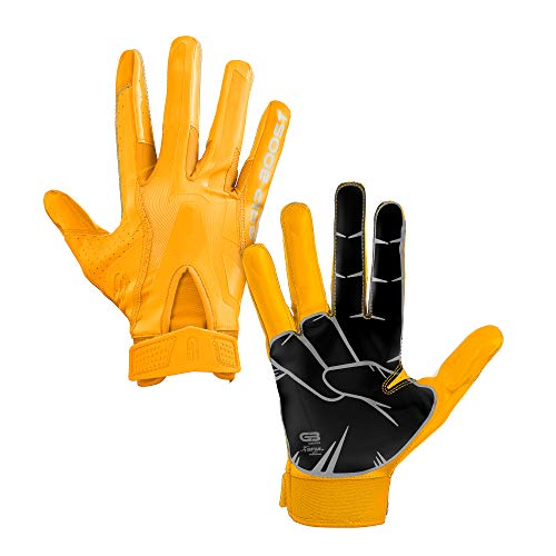 Grip Boost Peace, Shaka, and Hook 'Em Football Gloves Pro Elite - Adult Sizes (Yellow, Adult Large)