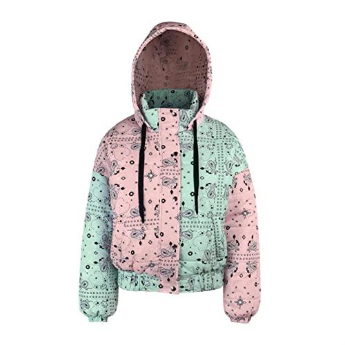 Abrigo cálido de algodón grueso para mujer Chaqueta acolchada de invierno for mujer con capas de manga larga con bolsillo y capucha (Color : Multi-colored, Size : L)