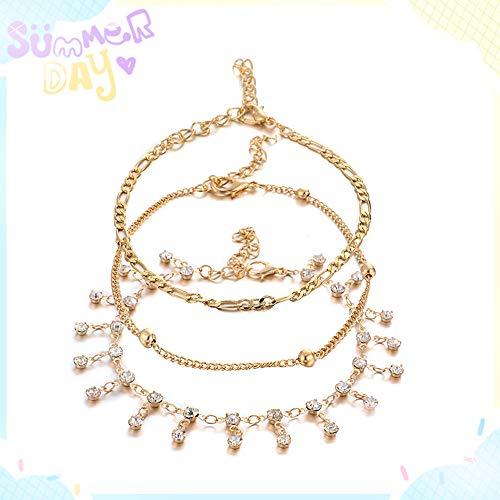 Bracelet de cheville délicat pour femmes, cheville en plaqué or 14K multicouches Srask Diamond Diamond Tassel Beach Foot exquis bijoux pour femmes et adolescentes cadeaux