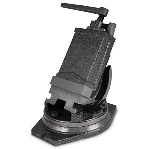 EBERTH 2-Achsen QHK Maschinenschraubstock (160 mm Backenbreite, 125 mm Spannbreite, 52 mm Spanntiefe, 0°- 90° kippbar, 360° drehbar, schwenkbar, Stahlguss)