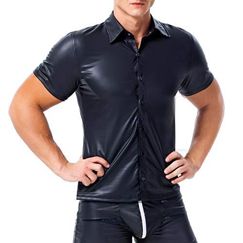 AKAKKSKY Herren T-Shirt Leder Latex Tops Kurzarm Versuchung Unterhemd Wetlook Übergrößen Reizwäsche,Black,XXXL