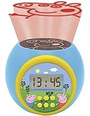 LEXIBOOK- Reloj Despertador con proyector Peppa Pig con función de repetición y Alarma, luz Nocturna con Temporizador, Pantalla LCD, batería, Azul/Amarillo