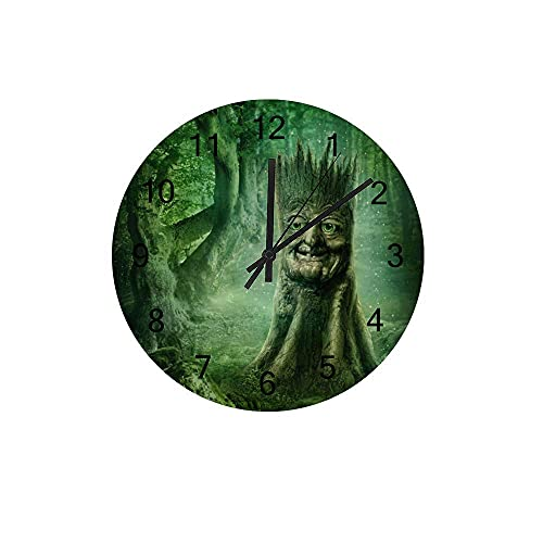 Orologio da parete in legno Silenzioso Non ticchettio Fairy Tale Book Magic Stump Green Battery Gleading Frameless Decoration Decorazione domestica per camera da letto