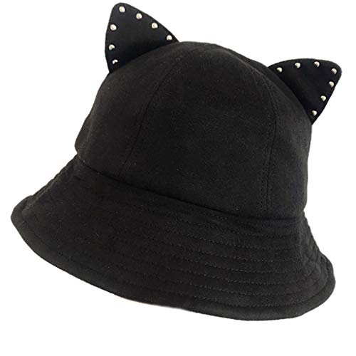 MOMOJIA Chapéu de pescador feminino de desenho animado bonito com orelhas de gato e strass curto Brum Party