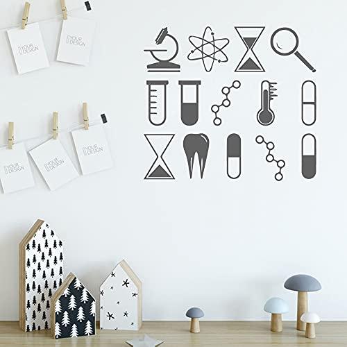 Strumenti chimici di colore adesivi murali rimovibili in vinile di arte del soggiorno decalcomanie di arte della parete di fondo del soggiorno A1 57x63cm