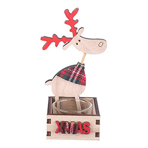 Lovejoy Store Kerzenständer für Weihnachten, Weihnachtsbaum, gerade, Elch-/seitliche Elchform, Holz, Kerzenhalter für Weihnachten, Party-Dekoration, 1 Stück, Seitenelch