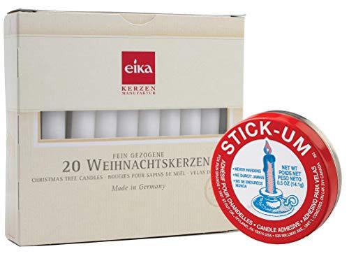 Eika Set of 20 White Tree Candles 4' Plus Stick-Um 3100 Candle Adhesive, 0.5-Ounce