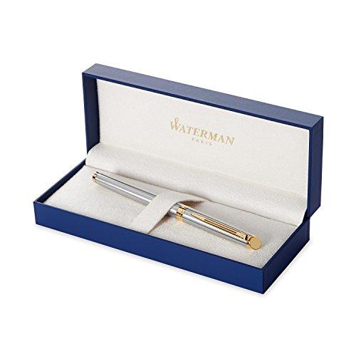 Waterman Hémisphère pluma estilográfica, acero inoxidable con adorno de oro de 23quilates, plumín mediano con cartucho de tinta negra, estuche de regalo
