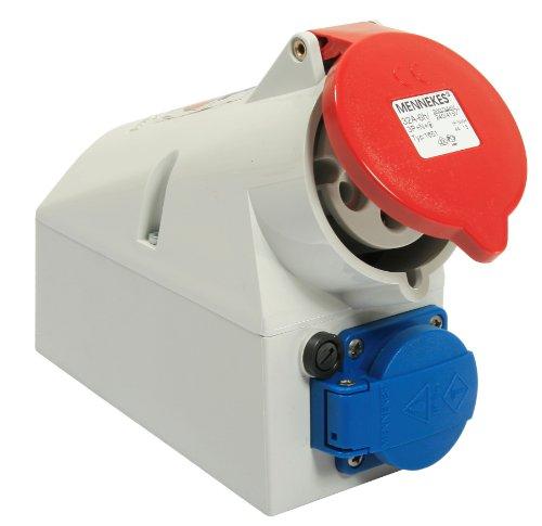 as - Schwabe 60438 CEE-Wanddose mit Schutzkontaktdose, 400V, 32A, 5polig, 6h, mit G-Sicherung 10A, IP44 Gewerbe, Baustelle