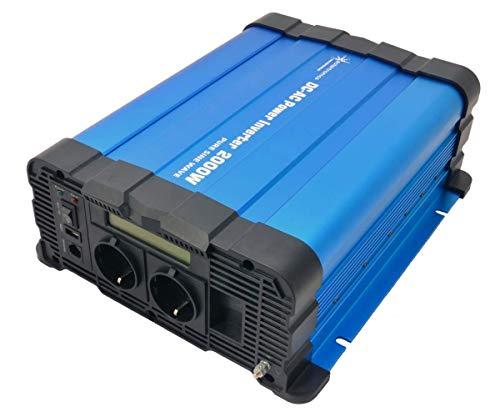 solartronics Spannungswandler FS2000D 12V 2000/4000 Watt Reiner Sinus BLAU mit Display