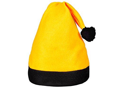 Alsino Weihnachtsmütze mit Bommel (wm-42a) | Nikolausmütze Unigröße für Erwachsene | Kopfumfang: 27 cm - schwarz gelb