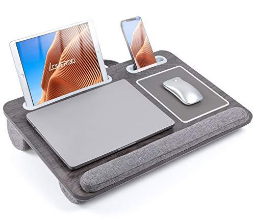 LORYERGO Laptop Lap Desk - Lap Desk Fits Up to 17' Laptops, Lap Desk for Bed w/ Wrist Rest & Mouse Pad, Laptop Desk w/ Slot for Phone & Tablet, Writing Desk & Drawing