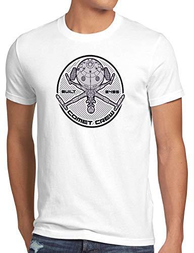 style3 Comet Crew Herren T-Shirt Future Anime Raumschiff Captain, Größe:L, Farbe:Weiß