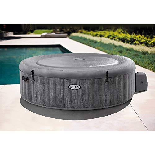 Intex PureSpa Greywood Deluxe 85in x 25in Outdoor Portable Inflatable 6 Person Round Hot Tub Spa with 170 Bubble Jets, Wireless Controls, Hardwater Treatment, Filter and Cover