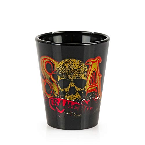 JUST FUNKY Sons of Anarchy Logo Shot Glass | Set of 4 Samcro Logo Bar Glasses | Each Glass Holds 1.5 Ounces