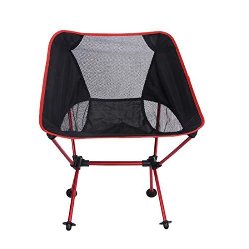 UICICI Camping en plein air Chaise pliante Chaise de lune Super léger en alliage d'aluminium Chaise de pêche Loisirs Croquis Chaise (Color : Red)