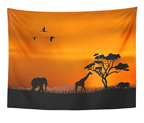 SSKBJTBDW Orange Safari African Nature Red Africa Silhouette Sunset South Savannah Tree Animal Tapestry Soft Polyester Cotton Appropriate Size Nice Wall Hanging Decoration