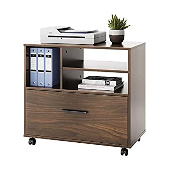 DEVAISE Wood Lateral File Cabinet with 1 Drawer Printer Stand with Storage Shelves Large Mobile Filing Cabinet for Home Office Walnut