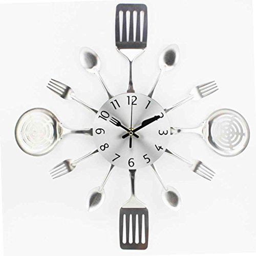 FBlue 3D extraíble Moderna Cocina Cubiertos Cuchara Tenedor Reloj de Pared Tatuajes de Pared Espejo