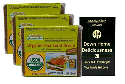 Mestemacher Organic Rye Flax Seed Bread (17.6 Ounces) - 3 Count Plus Recipe Booklet Bundle
