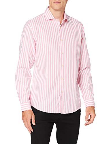 Cortefiel C7Bcc Raya Fucsia Camisa Casual, Rosa (Rosa 71), Large (Tamaño del Fabricante: L) para Hombre