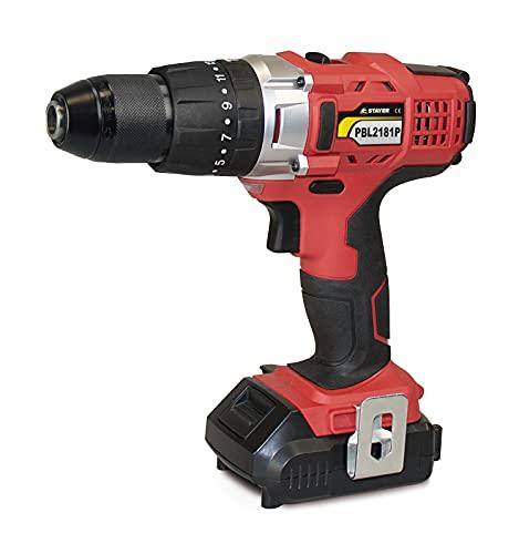Stayer 1.1590 Taladro/Atornillador Percutor PROFESIONAL a batería, PBL 2182 PK, 18 V, Rojo/Negro