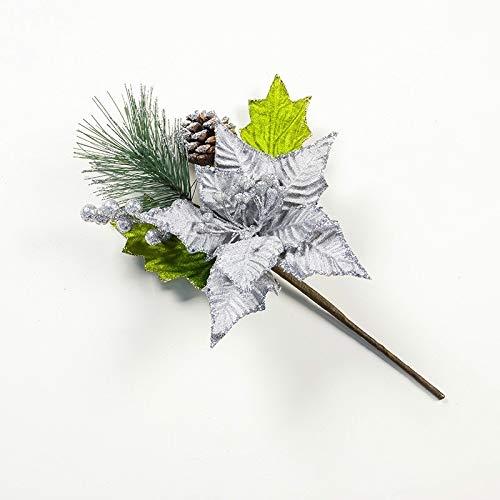 Ebogor for 2 PCS Christmas Tree Pine Needles Pine Cones Decorative Items (Color : Silver)