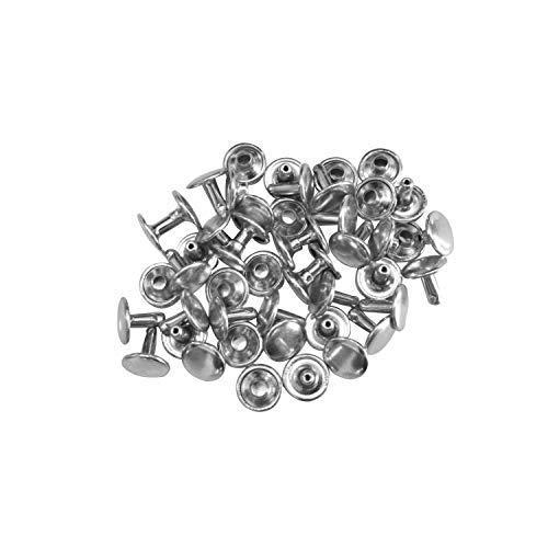 Set de 100 Piezas 6mm Tubular Doble Tapa Remaches Artesano Reparación Configuración Pendientes Trimming Shop - Plateado, 10 mm