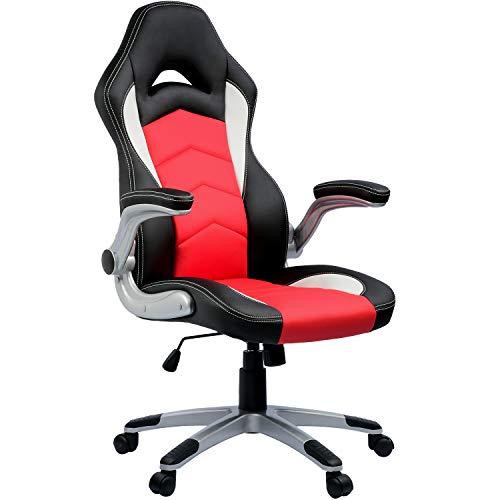 Umi. by Amazon - Bürostuhl Chefsessel Drehstuhl Gaming Stuhl Computerstuhl Höhenverstellung Schreibtischstuhl PC Stuhl Ergonomisches Racing Stuhl Gaming Sessel Rot