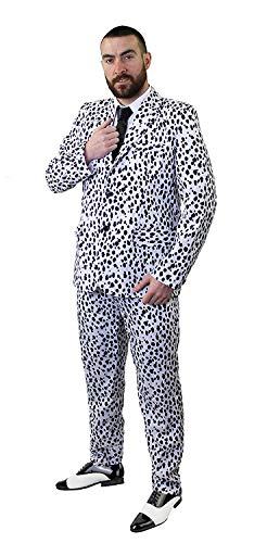 Dálmata Estampado Traje Disfraz CON LAZO NEGRO - Ideal Para Disfraz Halloween - Disponible en 5 Tallas: pequeño, mediano, grande, XGrande & XXL - Negro, Small
