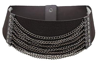 TFJ Women Wide Western Fashion Belt Black Faux Leather Plus Size XL XXL