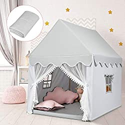 【Stable Solid Wood Frame】Using solid wood as the frame, our product is super sturdy and just like a real house. Different from the traditional flimsy tent, this playhouse has stronger support for shape maintenance, which can guarantee safe in-house p...