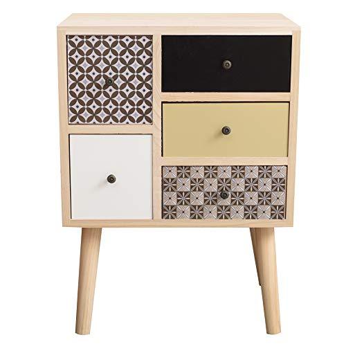 Rebecca Mobili Comodino con 5 cassetti, cassettiera marrone grigio beige nero, legno paulownia mdf, stile moderno, camera bagno - Misure 60 x 45 x 30 cm (HxLxP) - Art. RE6291