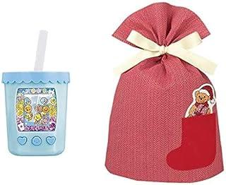 バンダイ まぜまぜミックス! ぷにタピちゃん アクアミルクティー + インディゴ クリスマス ラッピング袋 ポケットバッグL ベア レッド XG501