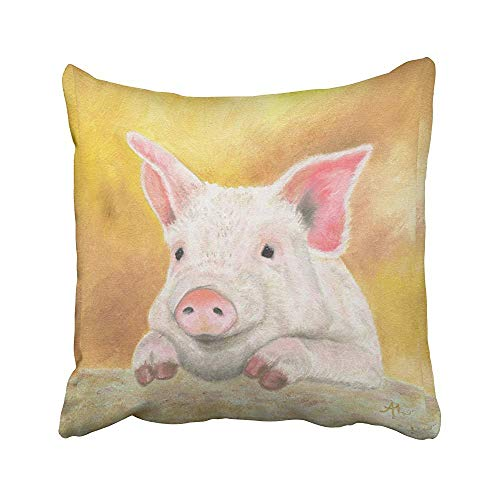 Cute Lovely Pink Pig Popular Orange Painting Acuarela Dibujada a Mano poliéster Oculta Cremallera Throw Pillow Fundas