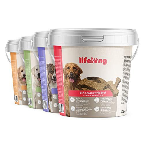 Marchio Amazon - Lifelong - Snack per cani, ricco di proteine con tacchino, manzo, anatra e agnello (4 secchielli da 500gr)