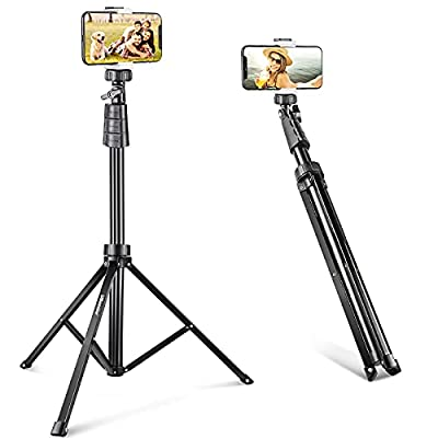 UBeesize 67'' Phone Tripod Stand & Selfie Stick Tripod, All in One Professional Tripod, Cellphone Tripod with Wireless Remote and Phone Holder, Compatible with All Phones/Cameras,Load capacity: 1.5 Kg from UBeesize