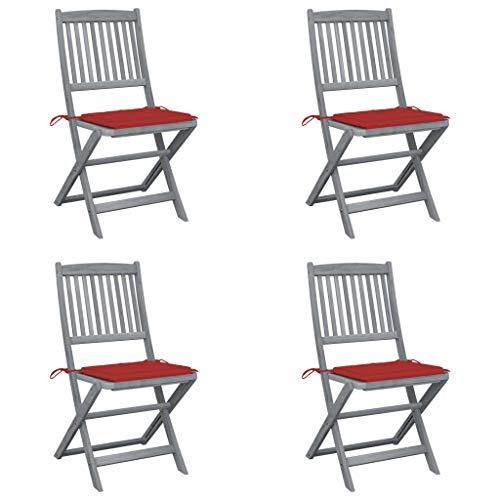 vidaXL 4X Akazienholz Massiv Gartenstuhl Klappbar mit Kissen ohne Armlehnen Stuhl Klappstuhl Holzstuhl Essstuhl Stühle Gartenstühle Holzstühle
