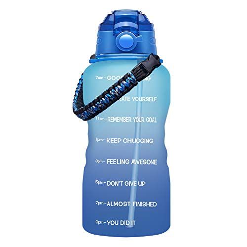 Fidus Large 1 Gallon Motivational Water Bottle with Paracord Handle & Removable Straw - BPA Free - Blue/Purple Gradient